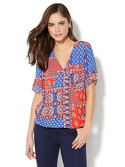 Soho Soft Shirt - Wrap-Front Blouse - Paisley Print - New York & Company