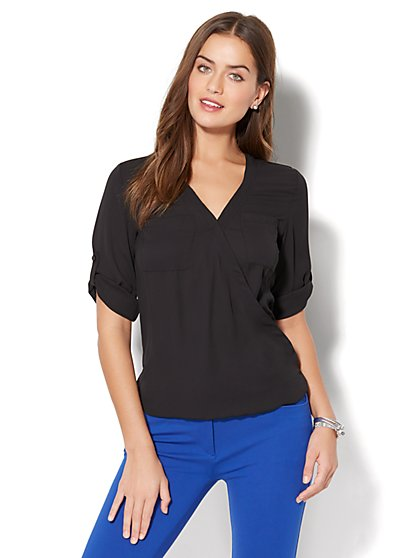 Soho Soft Shirt - Wrap-Front Blouse - New York & Company