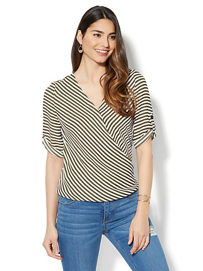 Soho Soft Shirt - Wrap-Front V-Neck - Stripe - New York & Company