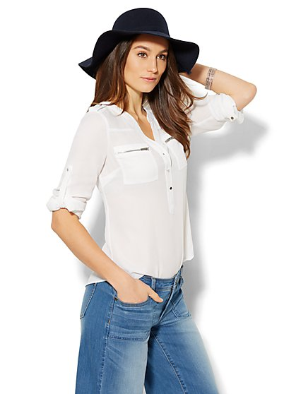 Soho Soft Shirt - Zip-Accent Split-Neck Blouse - Petite - New York & Company
