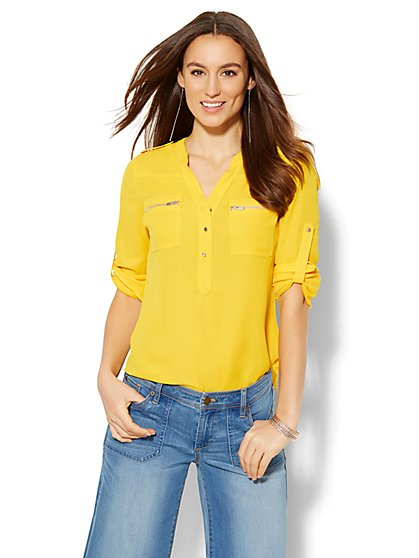Soho Soft Shirt - Zip-Accent Split-Neck Blouse  - New York & Company
