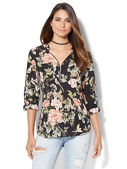Soho Soft Shirt - Zip-Front - Black - Botanical Print  - New York & Company