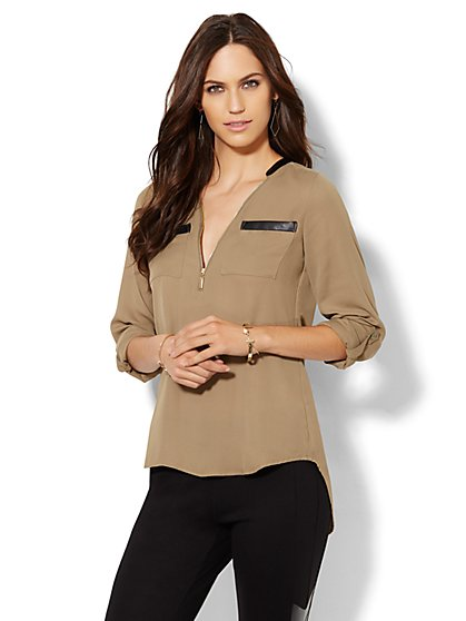Soho Soft Shirt - Zip-Front - Faux Leather Trim  - New York & Company