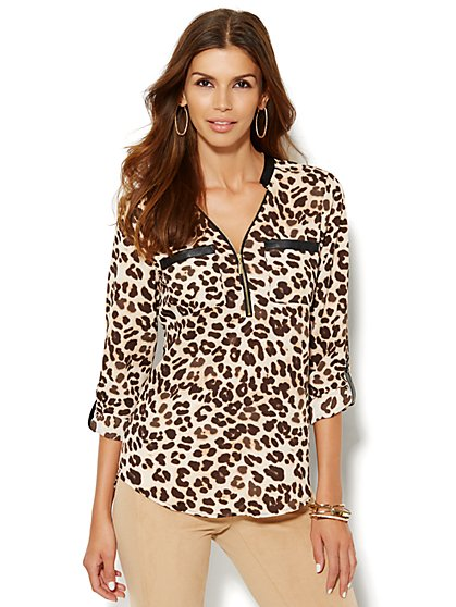 Soho Soft Shirt - Zip-Front - Leopard Print  - New York & Company