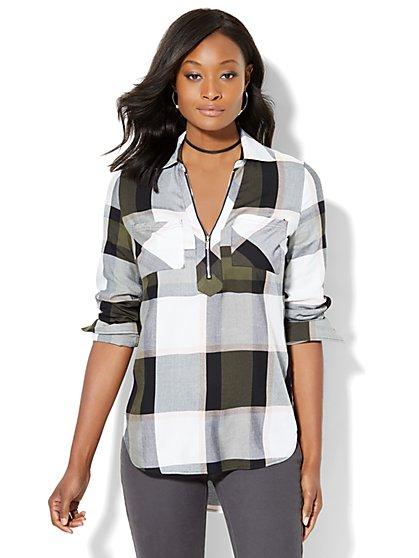 Soho Soft Shirt - Zip-Front - Plaid - New York & Company