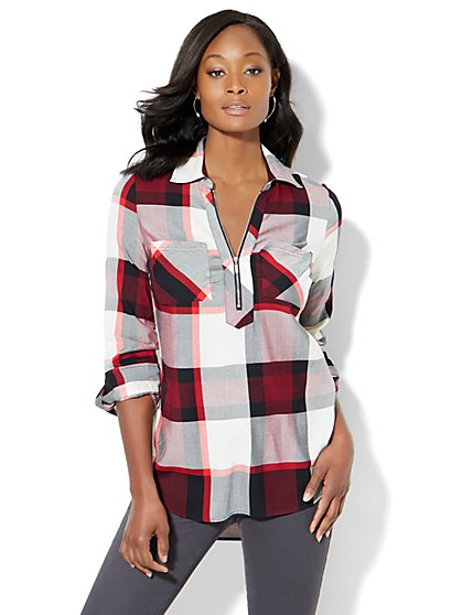 Soho Soft Shirt - Zip-Front - Plaid - New York & Company
