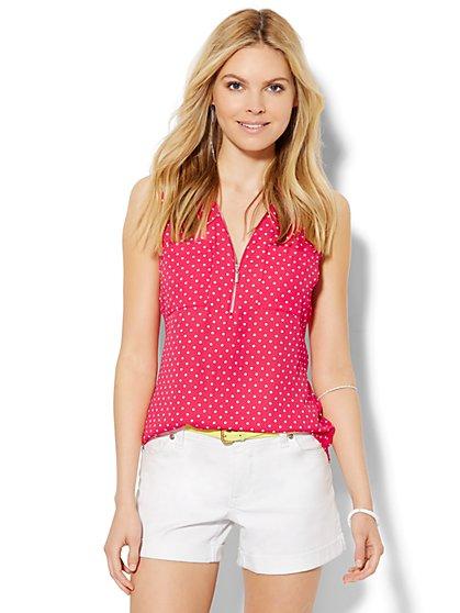 Soho Soft Shirt - Zip-Front - Polka Dot   - New York & Company