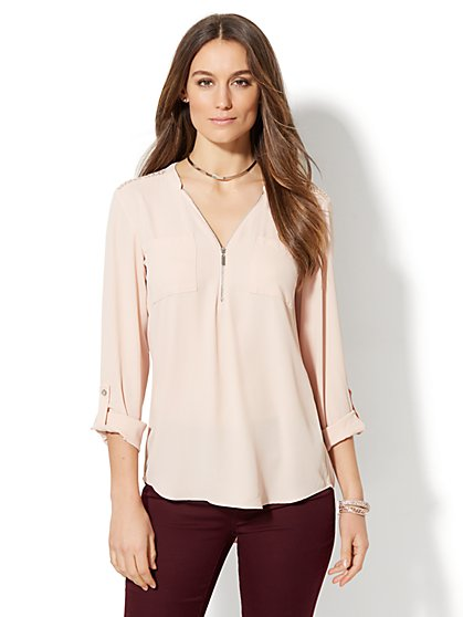 Soho Soft Shirt - Zip-Front Tunic - Lace Accent - New York & Company