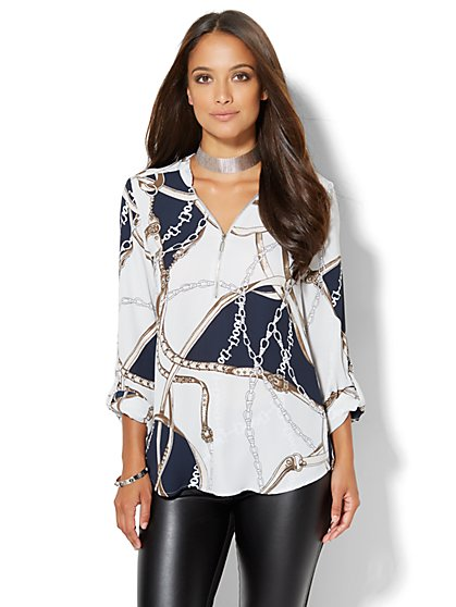 Soho Soft Shirt - Zip-Front Tunic - Print  - New York & Company