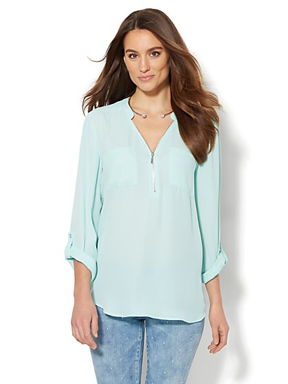 Soho Soft Shirt - Zip-Front Tunic  - New York & Company