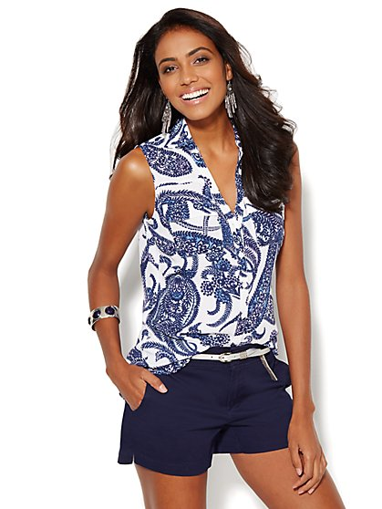 Soho Soft Sleeveless Shirt - Floral-Paisley - New York & Company