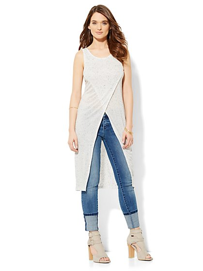Soho Soft Tee - Crossover Extreme-Length Tunic - Solid  - New York & Company
