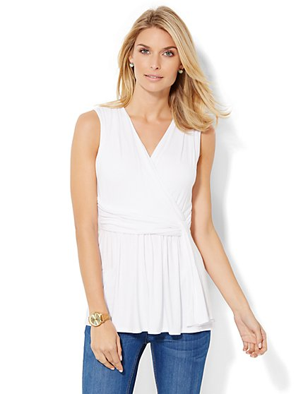 Soho Soft Tee - Draped Wrap-Front Tee - New York & Company