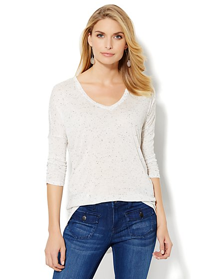 Soho Soft Tee- Hi-Lo Drop-Shoulder Top  - New York & Company