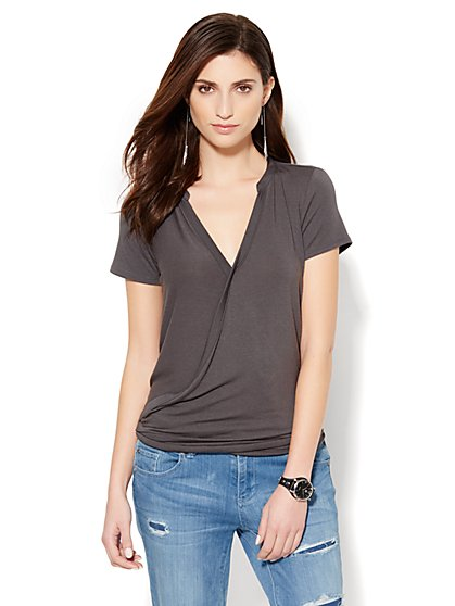 Soho Soft Tee - Hi-Lo Wrap Tee - Grey Drama  - New York & Company