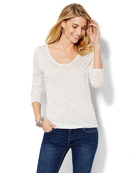 Soho Soft Tee - Open-Back Drop-Shoulder Top  - New York & Company