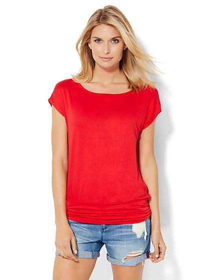 Soho Soft Tee - Shirred Banded-Hem Tee - New York & Company