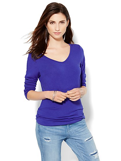 Soho Soft Tee - V-Neck Overlay Tee  - New York & Company