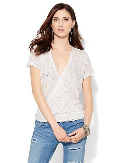 Soho Soft Tees - Hi-Lo Wrap Tee - Paper White  - New York & Company