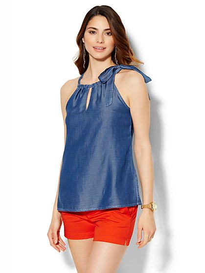 Soho Soft Tie-Detail Halter Blouse - Ultra-Soft Chambray - Indigo Blue Wash  - New York & Company