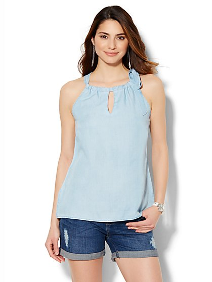 Soho Soft Tie-Detail Halter Blouse - Ultra-Soft Chambray - Light Indigo Wash - New York & Company