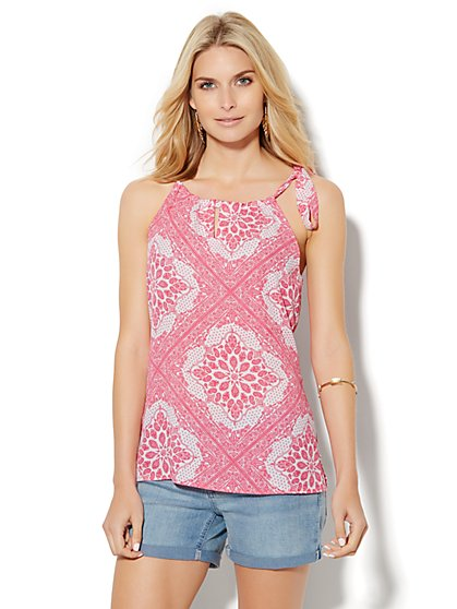 Soho Soft Tie-Neck Halter Blouse - Bandana Print  - New York & Company