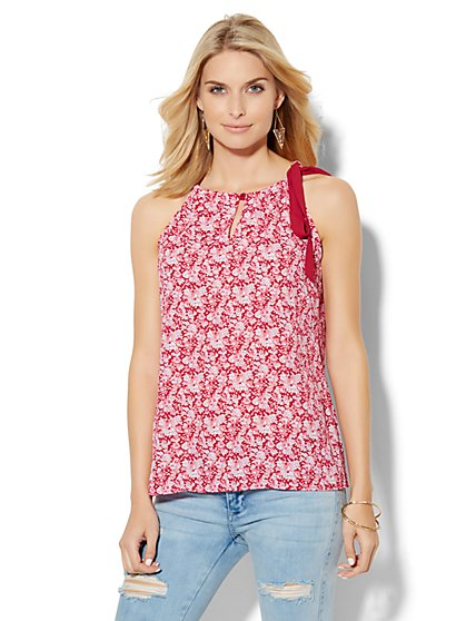 Soho Soft Tie-Neck Halter Blouse - Mini Floral  - New York & Company