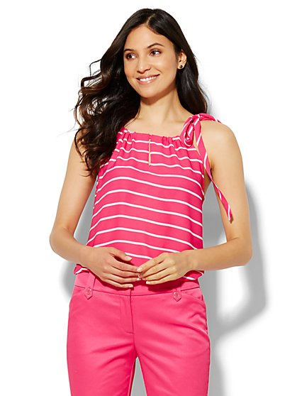 Soho Soft Tie-Neck Halter Blouse - Stripe - New York & Company