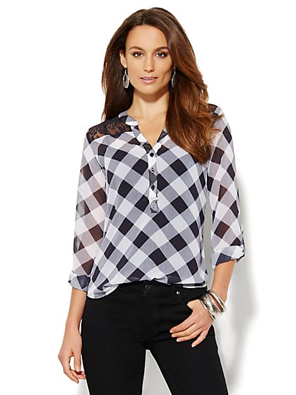 Soho Soft Tunic - Lace & Gingham  - New York & Company