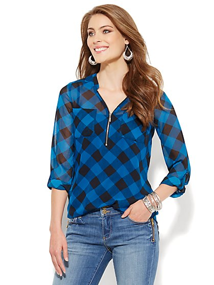 Soho Soft Tunic - Zip-Front - Gingham  - New York & Company