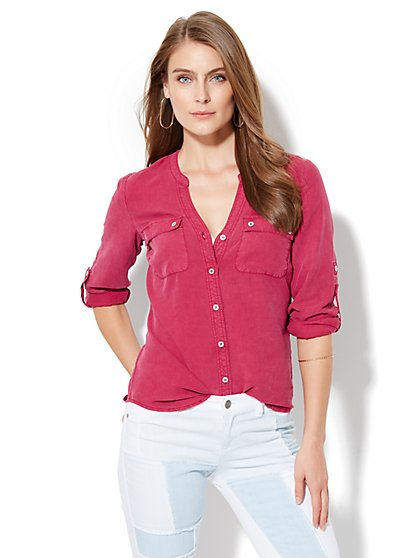 Soho Split-Neck Soft Shirt - Berry Jam  - New York & Company