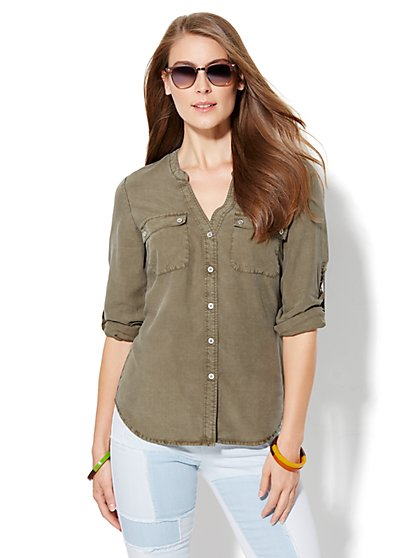 Soho Split-Neck Soft Shirt - Khaki Green  - New York & Company
