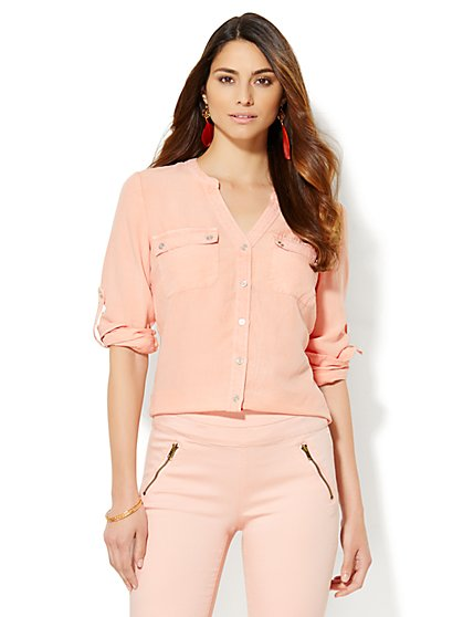 Soho Split-Neck Soft Shirt - Sweet Macaron   - New York & Company