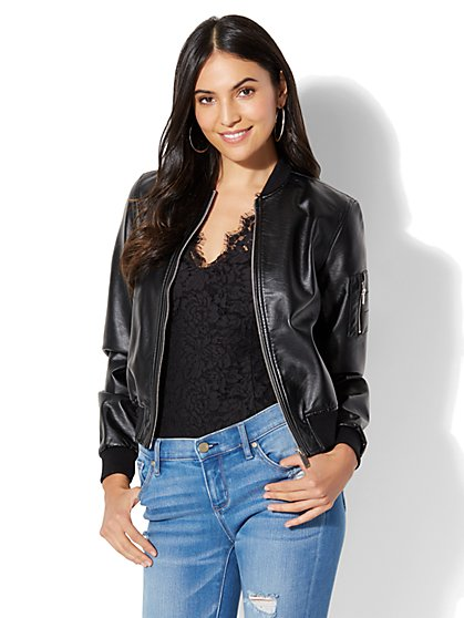 Faux Leather Jacket Womens Black - Coat Nj