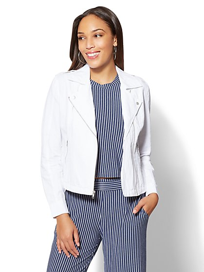 Soho Street Linen Moto Jacket - New York & Company