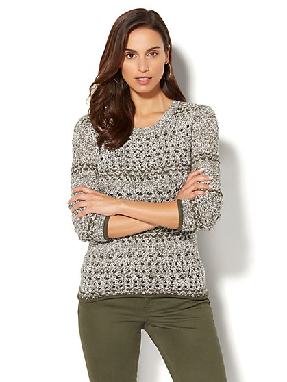 Soho Sweater Collection - Open-Stitch Marled Sweater - New York & Company