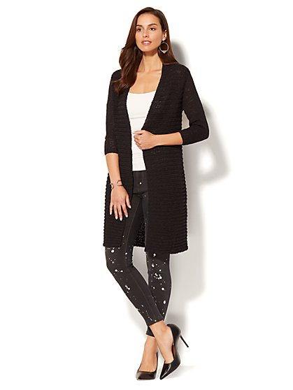 Soho Sweater Collection - Textured Open-Front Cardigan - New York & Company