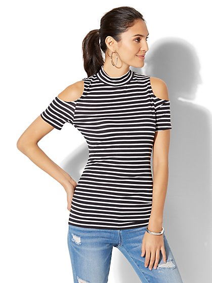 Soho Tee - Mock-Neck Cold-Shoulder Top - New York & Company