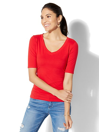 Soho Tee - Shirred V-Neck Top - New York & Company