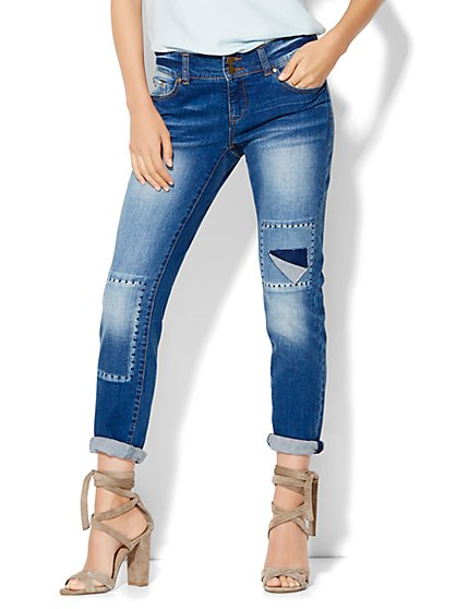 Soho Whipstitch & Destroyed Boyfriend Jeans - Indigo Blue Wash  - New York & Company