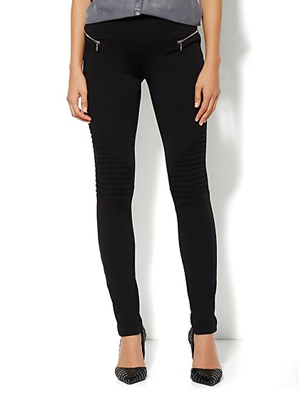 Soho Zip-Accent Moto Legging  - New York & Company