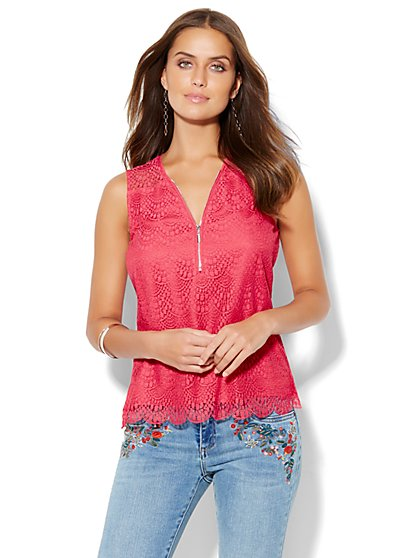 Soho Zip-Front Lace-Overlay Shell  - New York & Company