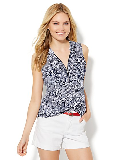 Soho Zip-Front Sleeveless Blouse - Floral  - New York & Company