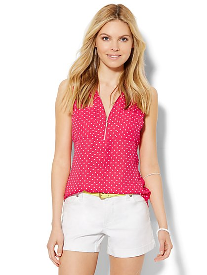Soho Zip-Front Sleeveless Blouse - Polka Dot   - New York & Company