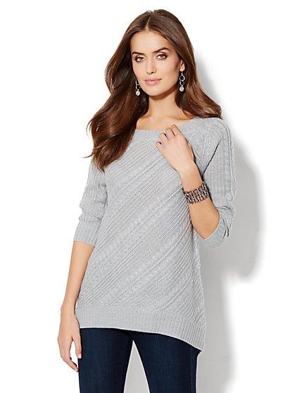 Solid Bateau Tunic Sweater  - New York & Company