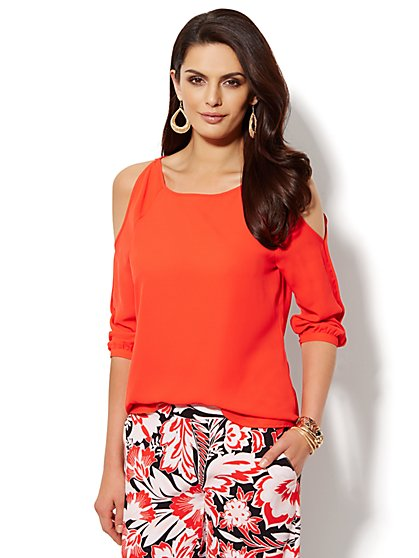 Solid Cold-Shoulder Blouse - Petite  - New York & Company