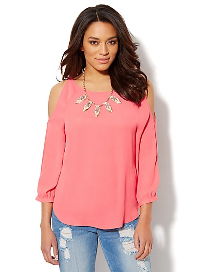 Solid Cold-Shoulder Blouse - Red Fortune - New York & Company