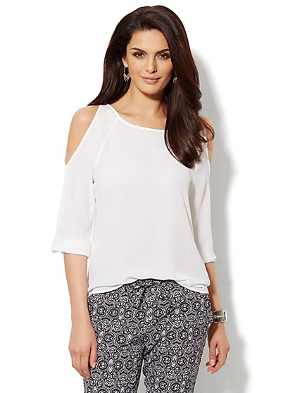 Solid Cold-Shoulder Blouse  - New York & Company