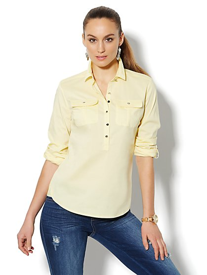 Solid Cotton-Blend Popover Shirt  - New York & Company
