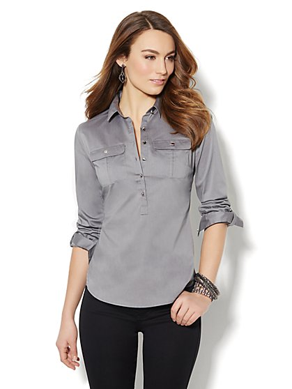 Solid Cotton-Blend Popover Stretch Shirt  - New York & Company